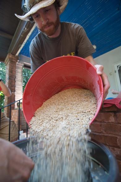 pouring grain