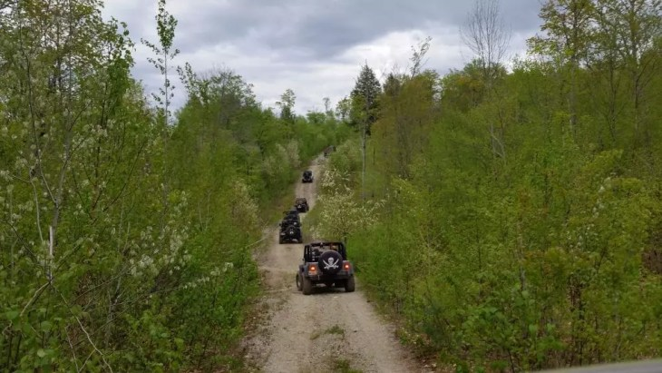 Off road 4x4 jeep trails in Maine.