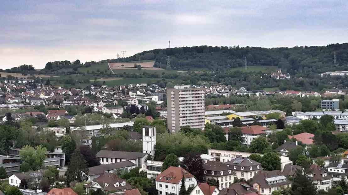 Lörrach Aussicht in richtung nordwest mit Christuskirche und Lucke