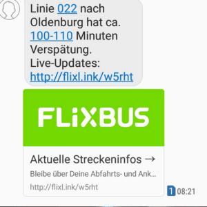 Screenshot der zweiten Verspätungs SMS von Flixbus
