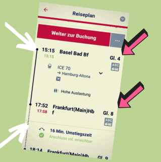 DB-Navigator zeigt Verspätung und Gleis an
