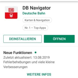 DB Navigator die App der Deutsche Bahn im Playstore