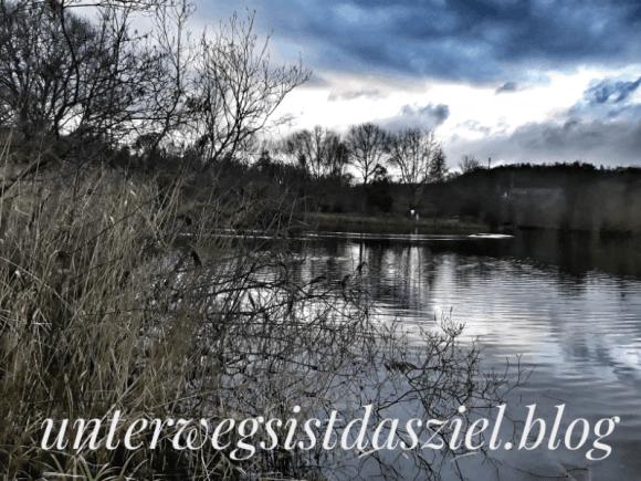 Dezember: Wolken über dem Grüttsee in Lörrach Landschaftspark Grütt