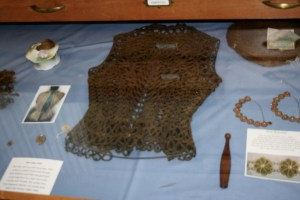 A laced vest that uses hair and silk