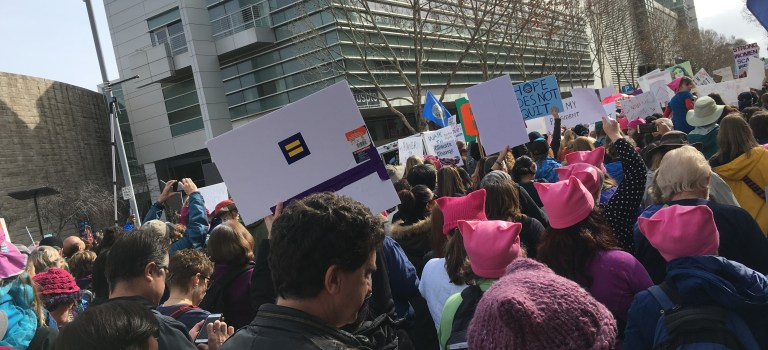 Marchers at the Womens March in San Jose on January 21, 2017