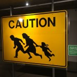 Sign to warn drivers that immigrants might cross, at the Oakland Museum of California