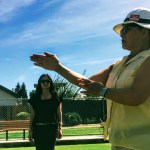 Pauline explaining lawn bowling at the Sunnyvale Lawn Bowling Club