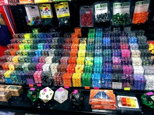 Collection of dice at the Isle of Gamers