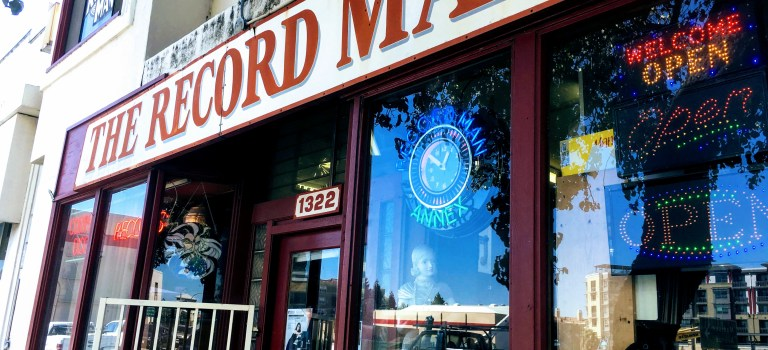Storefront of The Record Man, Redwood City