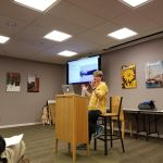 Me giving a presentation at the Menlo Park library