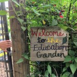 Sign saying: Welcome to the Educational Garden, Hidden Villa, Los Altos Hills.