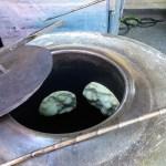 Naan bread in an oven, Los Altos Farmers Market.