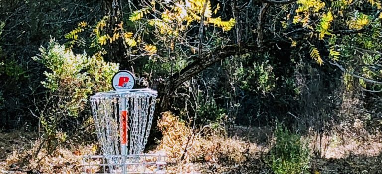 Disc golf basket at Stevens Creek County Park, Cupertino.