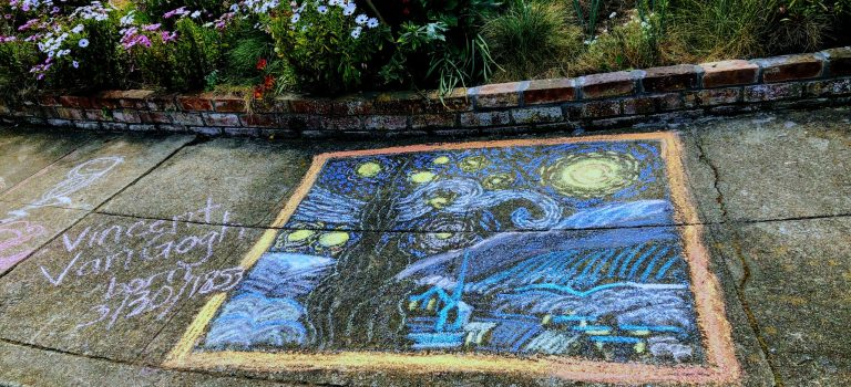 chalk art drawing of Vincent Van Gogh starry night, Mountain View