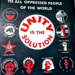 Poster from the 'Black Panthers at 50' exhibit at the OMCA: Unity is the Solution