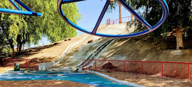 Climbing structure and concrete slides at Brigadoon Park.