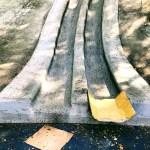 Concrete slide with cardboard at Brigadoon Park, San Jose.