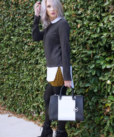 Tips for Layering: Collared Sweater & Mustard Skirt