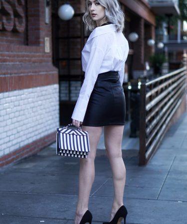 Deconstructed Basics & Leather Skirt