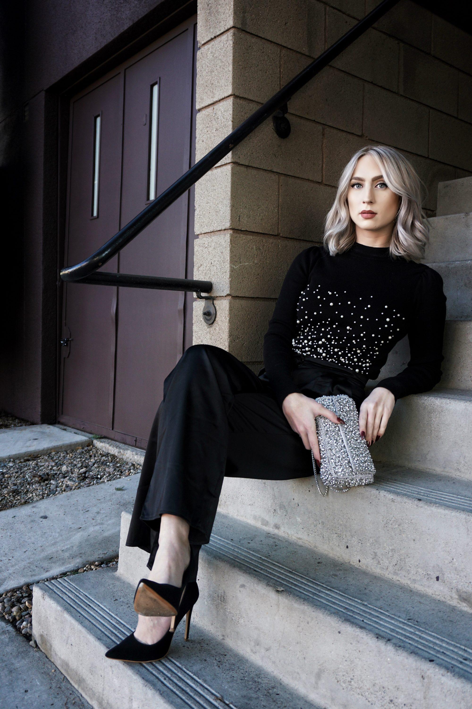 Pearl Sweater & Satin Trousers