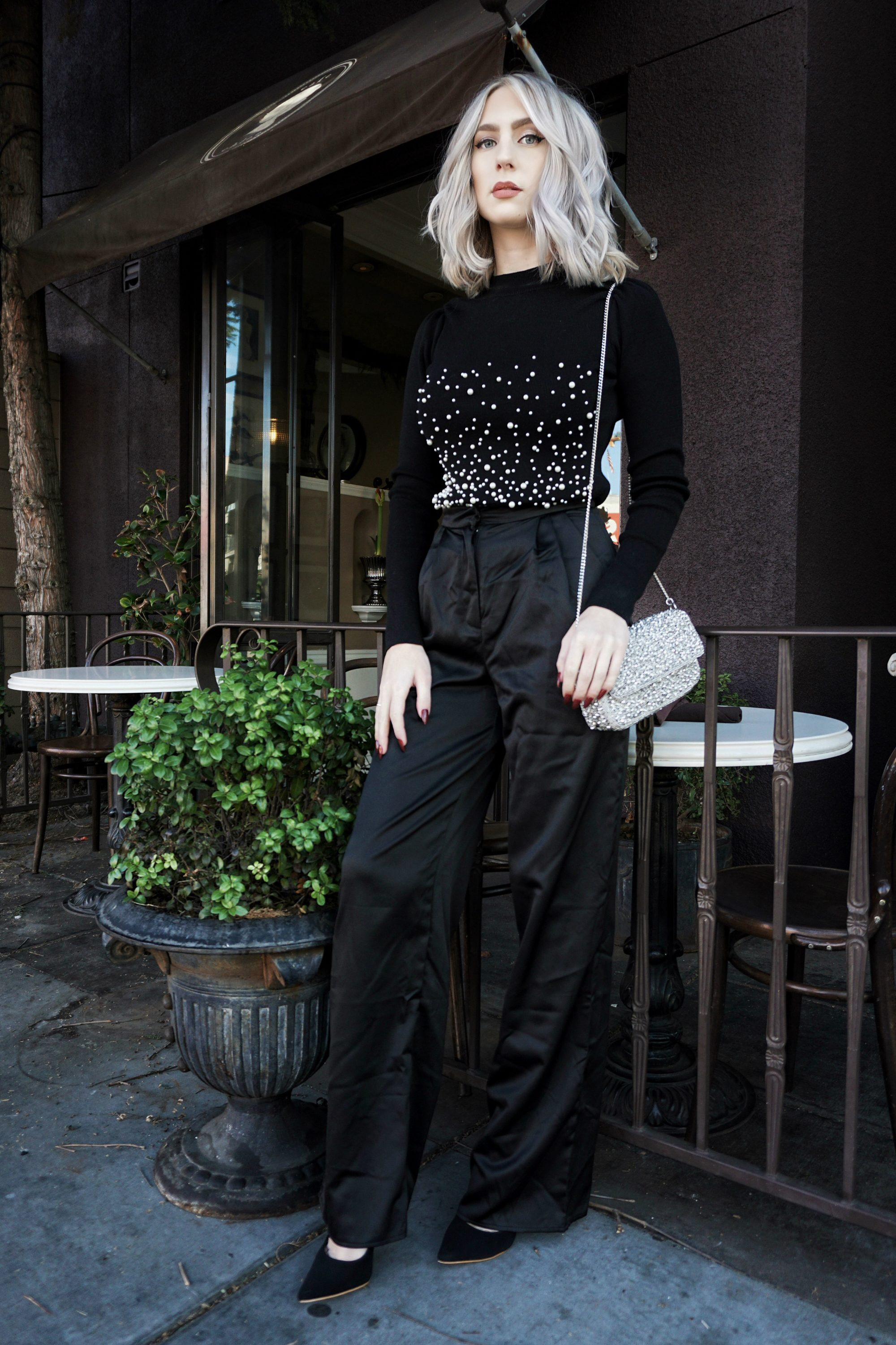 Pearl Sweater & Satin Trousers | Until The Very Trend