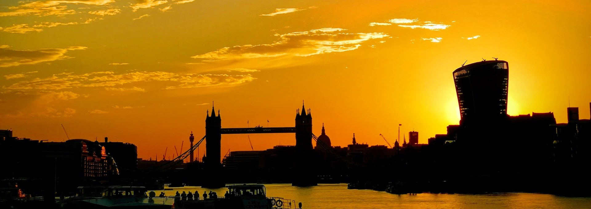 View of Tower of London and the city at sunset