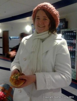 Rachel with her Asian Onion bun.