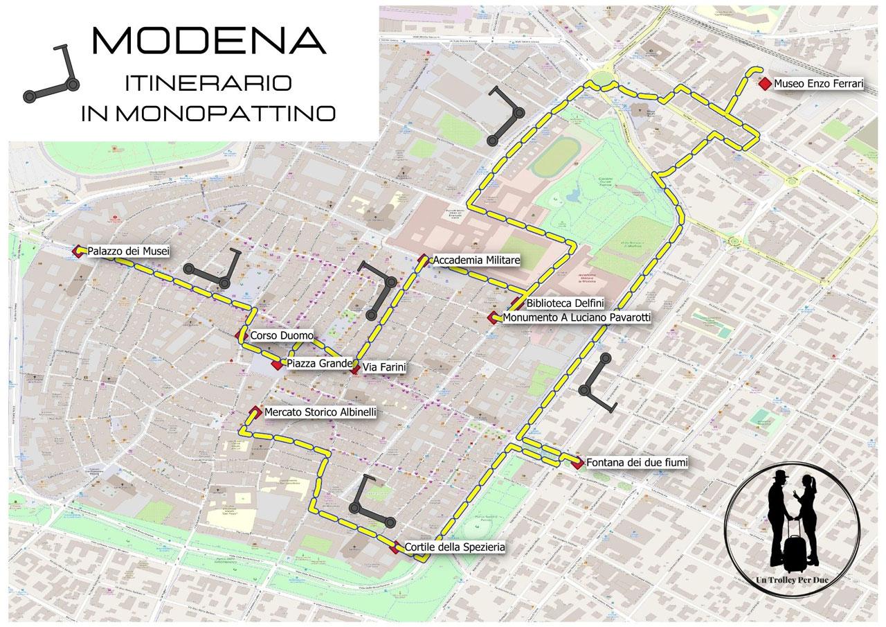 itinerario in monopattino a modena