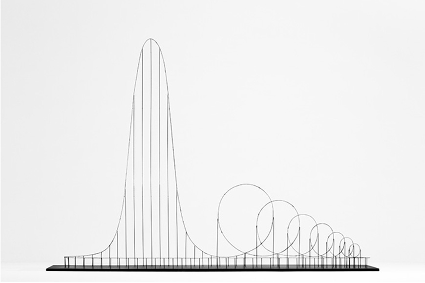 Scale model of the Euthanasia Coaster, showing its lift hill and seven inversions.