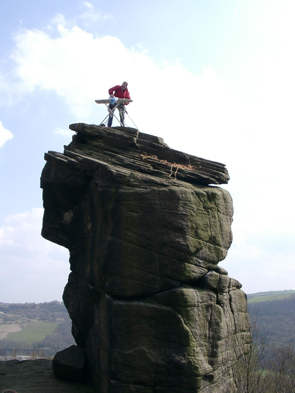 Starch Extreme Ironing on Rivelin Needle. Rivelin Rocks, United Kingdom