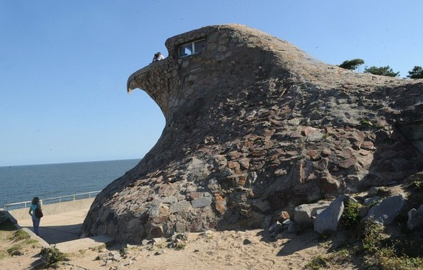 A general view of El Aguila (The Eagle) near Atlantida, some 50 kms east of Montevideo on April 15, 2012. The odd-shaped building was erected in 1945 by businessman Natalio Michelezzi, originally acting as a small apartment with many commodities, now it serves as a tourist attraction. AFP PHOTO/Miguel ROJO