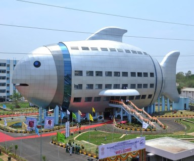 A general view shows the newly opened National Fisheries Development Board (NFDB) building, designed to resemble a fish, in Hyderabad on April 20, 2012. The National Fisheries Development Board (NFDB) functions as a coordinating mechanism between different fishery agencies and a platform for partnerships. AFP PHOTO/Noah SEELAM