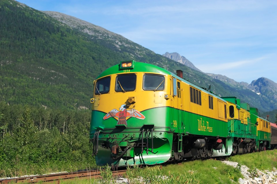 A White Pass and Yukon Railroad General Electric diesel-electric locomotive returning to Skagway after it's round trip to Fraser, YT. Photo by Alan Vernon/Flickr