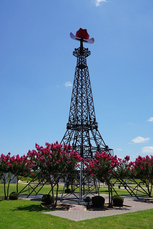 Trees in front of Eiffel Tower in Paris, Texas