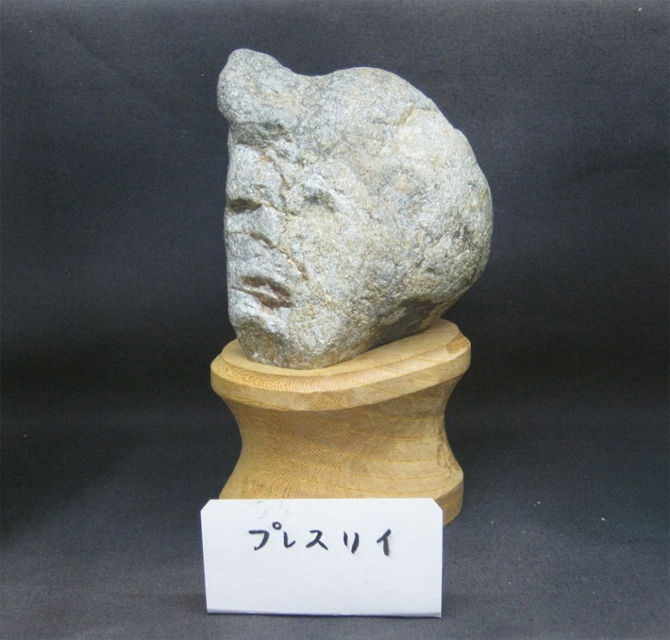 Chinsekikan museum in Chichibu, Japan. Elvis Presley face rock