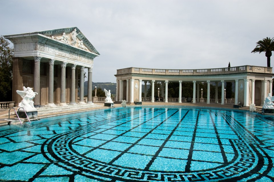 Neptune pool is complete  with the authentic Roman temple facade