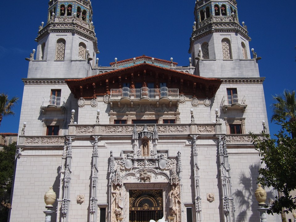 The ornate front of the Hearst Castle's main building
