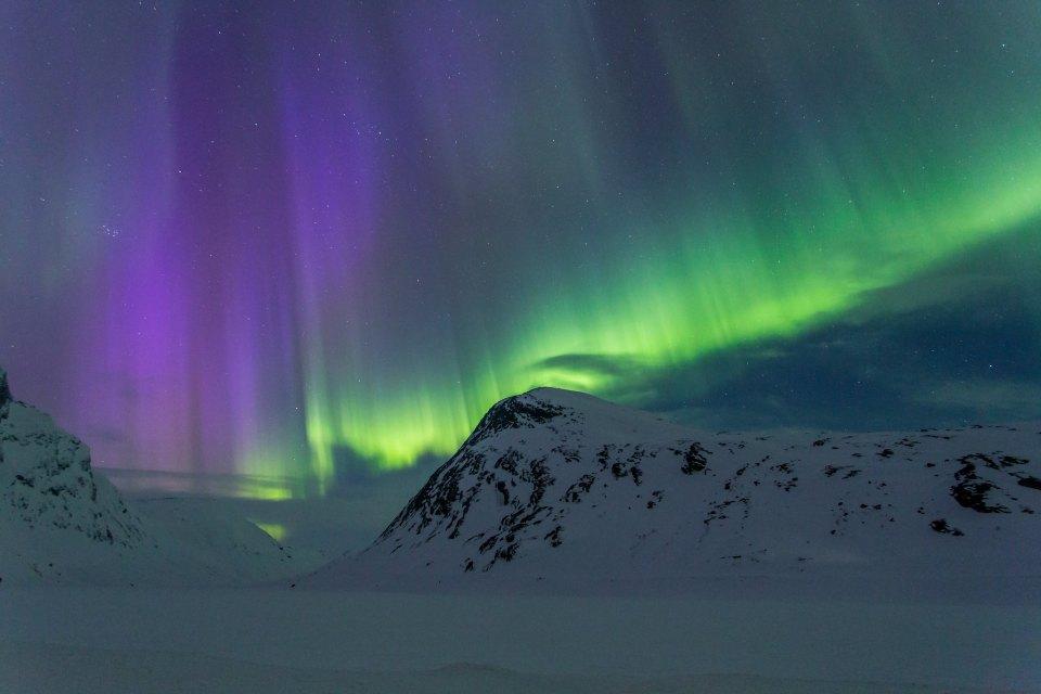 Northern lights, Strynefjellet, Norway