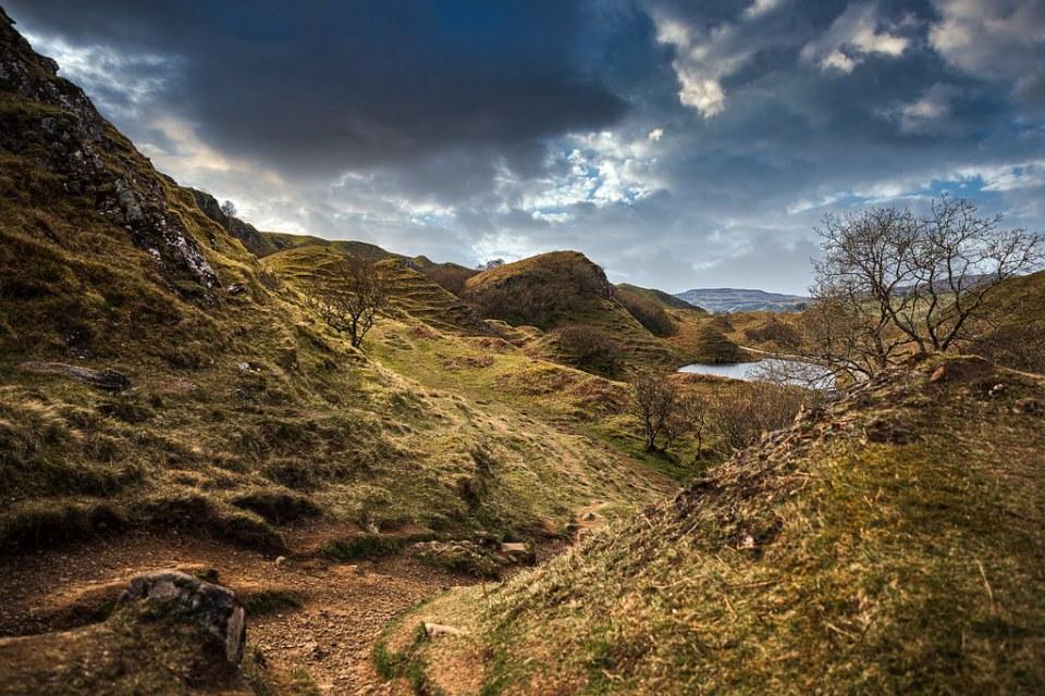magical atmosphere at fairy glen, Scotland