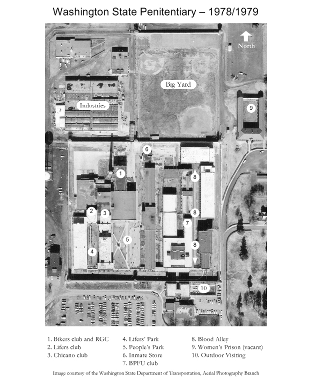 Site plan of the Washington State Penitentiary in 1978 showing location of clubs and other inmate areas
