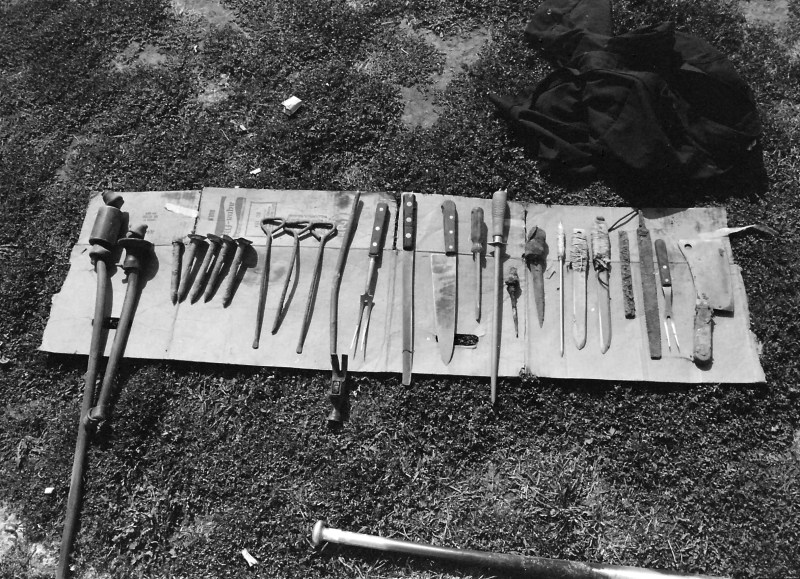 Weapons found in the Big Yard after the inmates returned to their cells