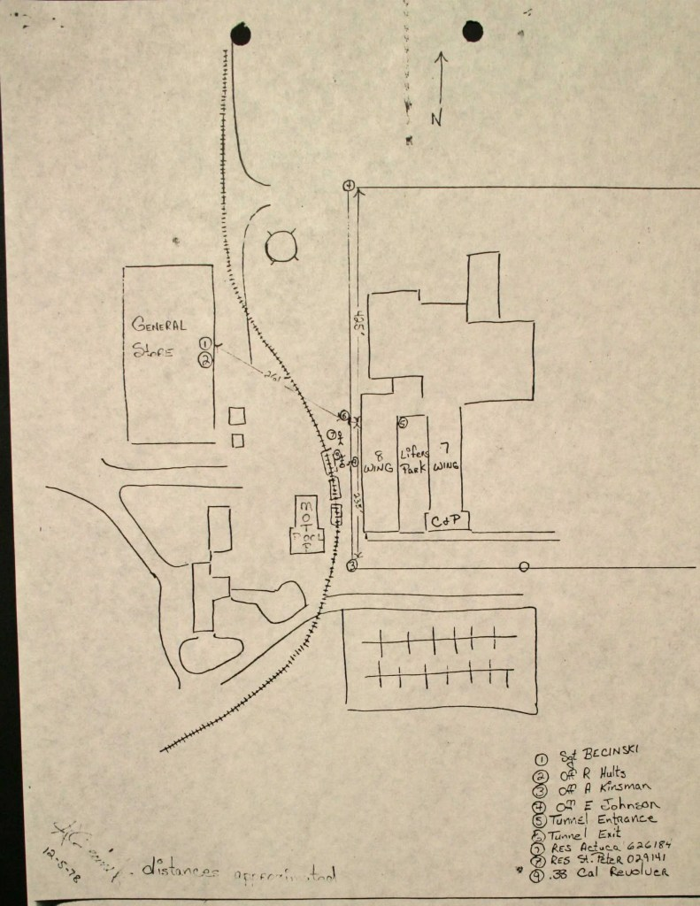 Sketch of escape route