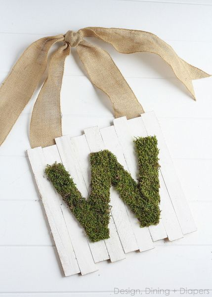 Moss initial on wood with burlap ribbon