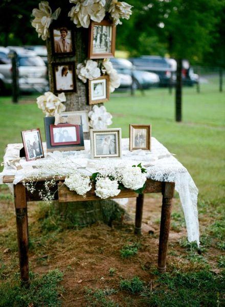 Family wedding photos for ceremony area