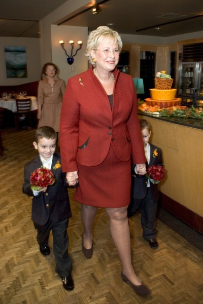 Bee heads down the aisle with her grandsons
