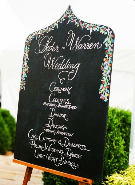 Chalk board with flower detail for reception