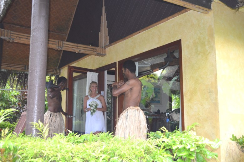 Fiji wedding guards accompany the bride