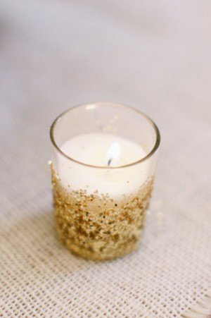 Votive with glitter