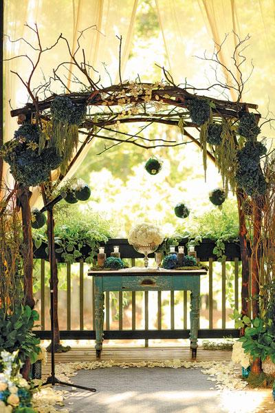 Hanging Moss Balls at Altar