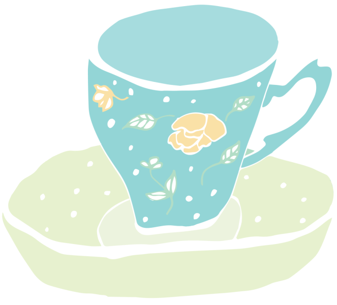 Blue cup with flowers